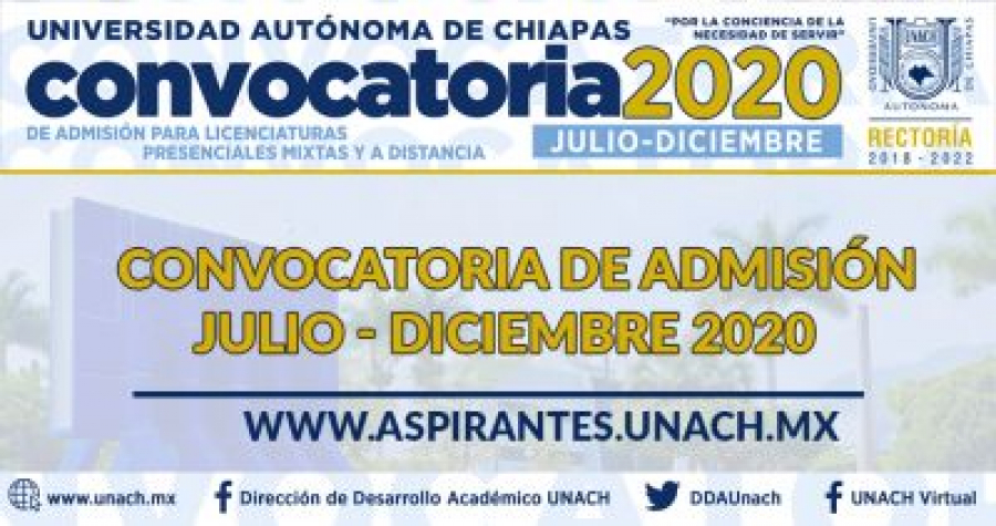 Convocatoria de Nuevo Ingreso Agosto-Diciembre 2020